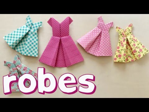 Petites robes en origami avec du washi tape youtube - Robe en origami ...