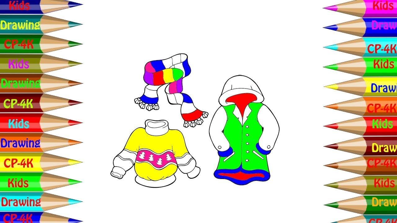 Ropa De Invierno Establece Libro De Colorear Cómo Dibujar Conjuntos De Ropa De Invierno Para Niños