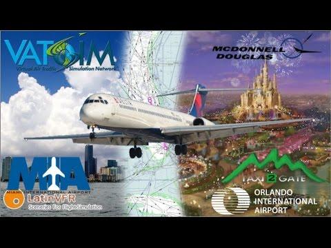 Leonardo Maddog MD88 flies Miami to Orlando on Vatsim through a storm