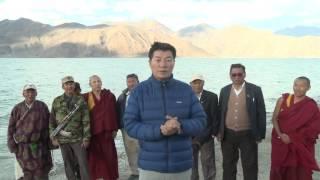 Looking Homeward: CTA President Prays at Pangong Lake bordering Tibet.