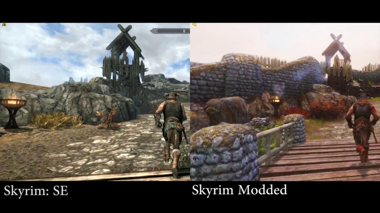 Porównanie grafiki w Skyrimie.