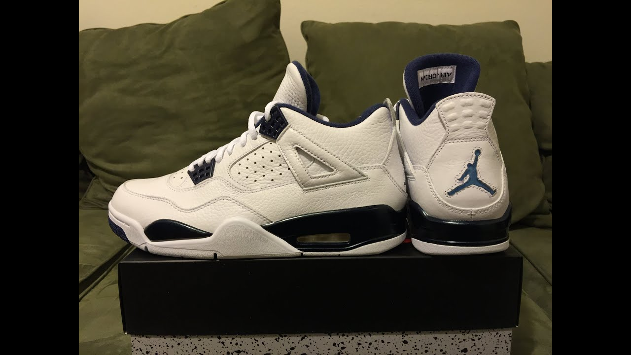 a42ee8472f1aad Jordan Retro 4 Legend Blue Columbia unboxing and on feet - YouTube