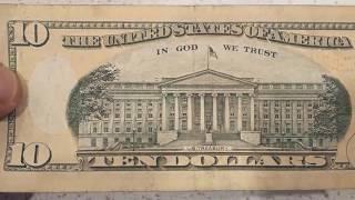 Hidden message on 10 dollar bill