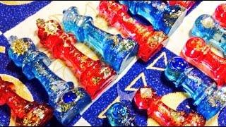 クリスタルレジン☆チェス駒作ってみた「赤の国」と「青の国」resin