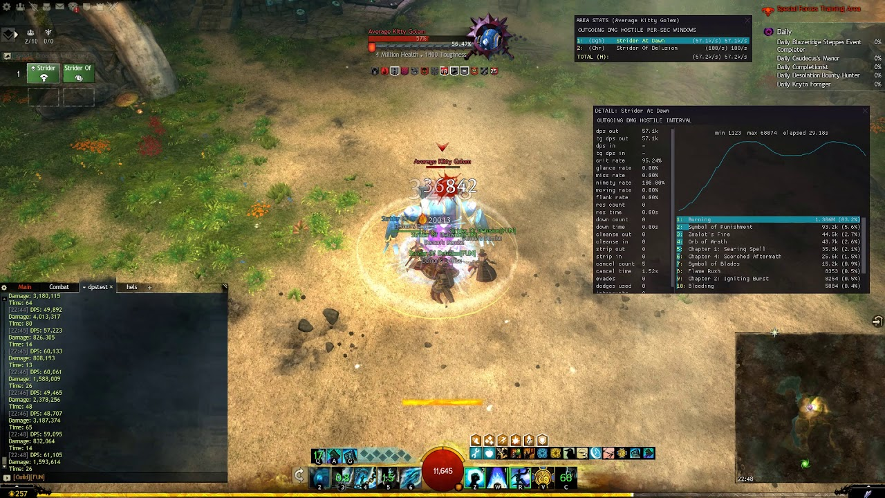 Gw2 - Firebrand DPS Benchmark - 50 3k (scepter, small golem, with