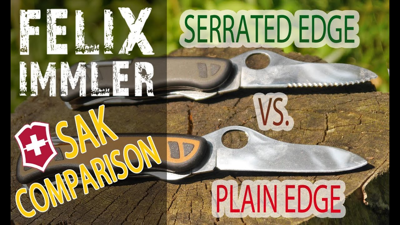 Plain vs Serrated - Which Blade is better/ more versatile? Victorinox Forester vs Soldier's Knife 08