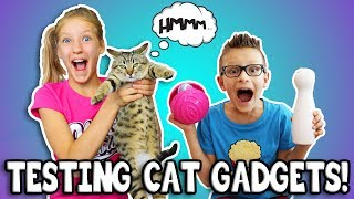 TESTING CAT GADGETS ON OUR CAT!!! thumbnail