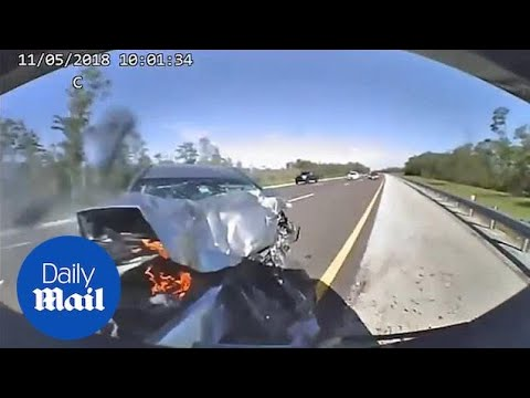 Terrifying Dashcam Video Shows Car Slamming Into Police Cruiser