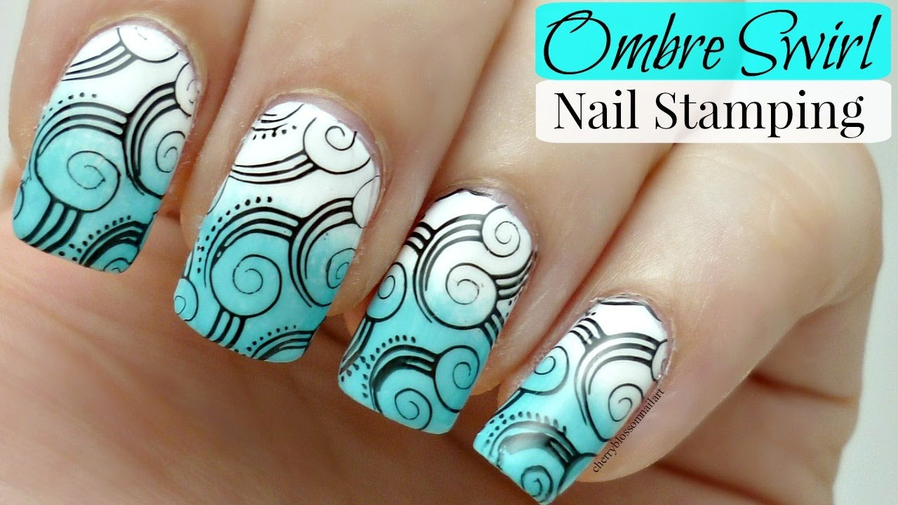 Ombre Swirl Nail Art! *Stamping Tutorial* - YouTube