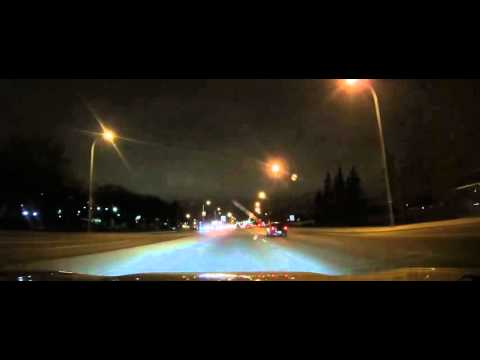 Driving from Denny's to the Calgary Airport at night