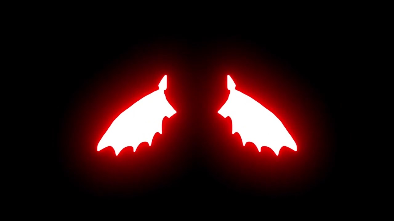 Devil Red Neon Wings In Black Screen Background Youtube