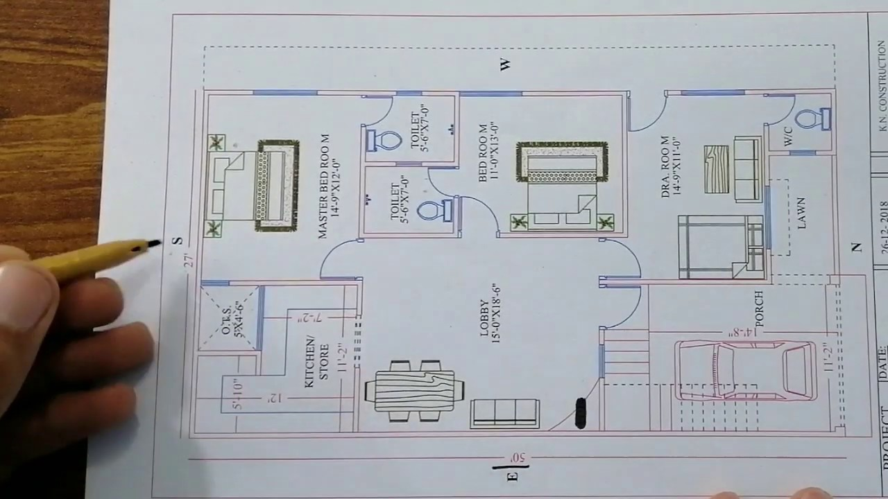 50*50 27 X 50 House Plan - Luxury House Plan In 27 By 50 - Youtube