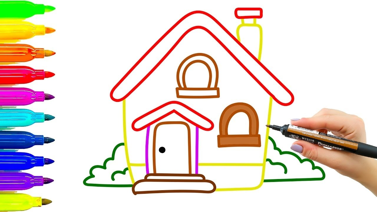 Casa dibujo y colorear para ni os c mo aprender a dibujar y pintar youtube - Imagenes de casas para dibujar ...