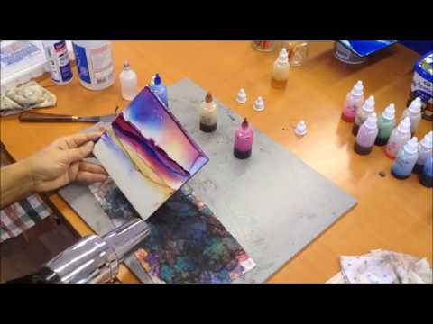 Alcohol Ink Abstract/Landscape Painting Demo on tile – kristarobertsonart