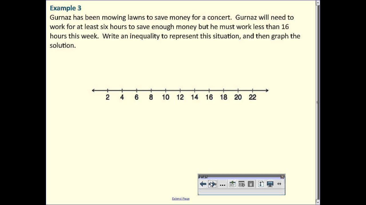 Writing and Graphing Inequalities in Real-World Problems ... on khan academy inequalities, solving inequalities, examples of two step inequalities, how do you graph inequalities, absolute value inequalities, one step inequalities, radical graph inequalities, math inequalities, interval notation for inequalities, write and graph inequalities,