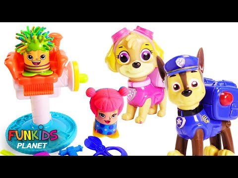 Learn Color Videos for Kids: Paw Patrol Give Hair Cuts Play-Doh Barber Shop Play Set