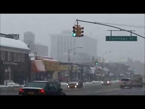 Jamaica Queens Snow outside 169th St Subway  Hillside Av & Homelawn St (New York 2014)