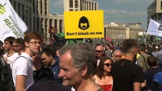 Russian activists and opposition rally for a