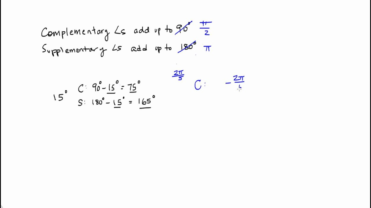worksheet Supplementary Angles complementary and supplementary angles in radians youtube radians