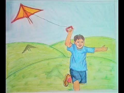 Easy drawing of Little boy flying kite - YouTube
