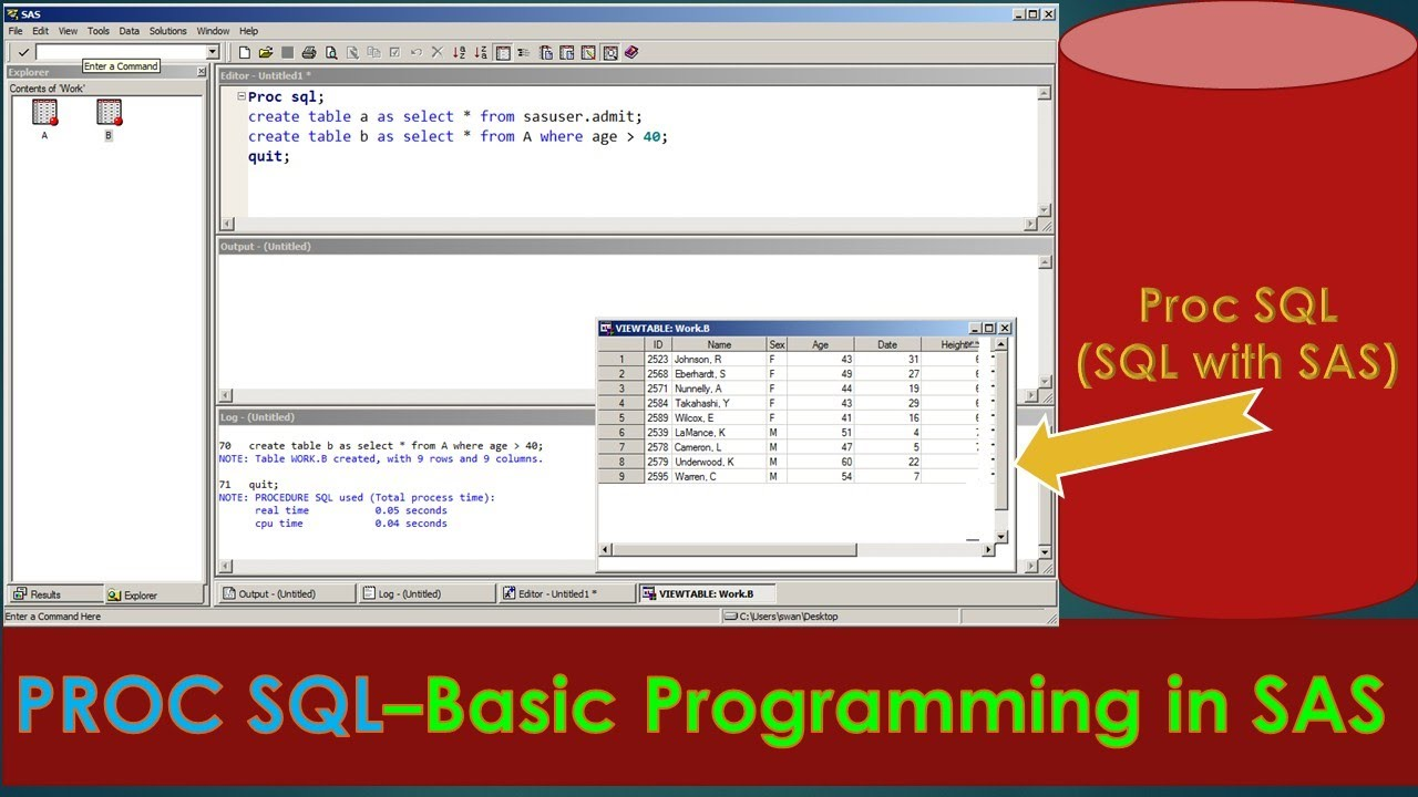 PROC SQL with SAS - How to write Basic Program using PROC SQL in SAS