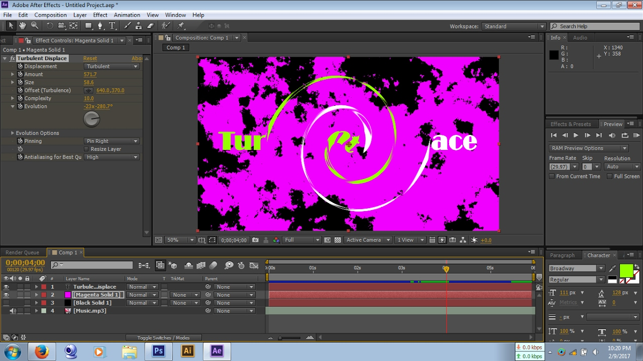 Turbulent Displace & Swirl Effects in After Effects   After Effects  Beginners Course
