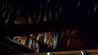表演傳統樂器竹琴, 房子內四周高高懸掛了上百條鮭魚,是真的哦!平常愛奴...