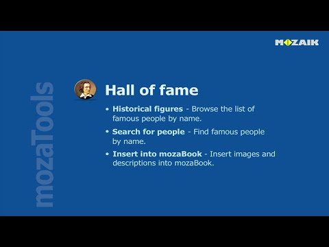 mozaBook Interactive Teaching Software - Hall of fame tutorial