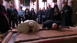 Encuentro histórico en Jerusalén entre el papa y el patriarca ortodoxo