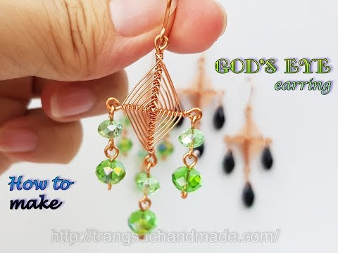 Earring inspired God's eye craft - Handmade jewelry from copper wire and crystal 494