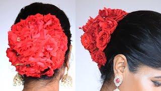 Easy Flower Bun Hairstyle ||Wedding Hair Bun Tutorial || Bridal Hairstyle
