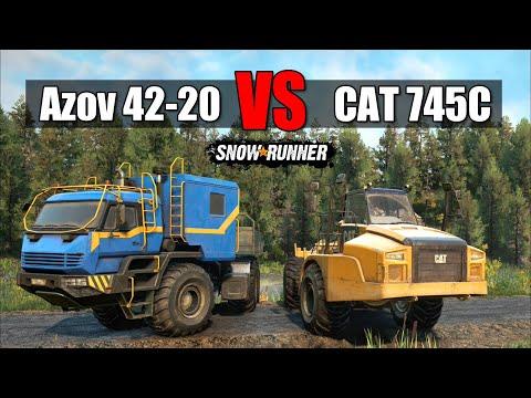 Snowrunner CAT 745C Vs Azov 42 20 Antarctic | Battle Of Monsters