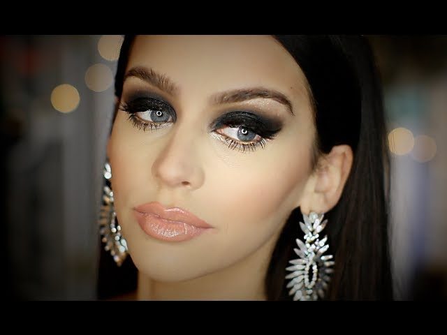 Black SMOKEY Eye | FULL FACE Makeup Tutorial | Heavy Glam Travel Video