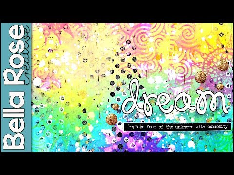 Using Stamps & Distress Oxide Inks to Create  Art Journal Background- Mixed Media Art Journal