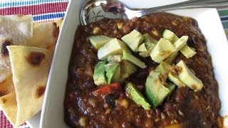 Thick And Spicy Black Bean And Lentil Chili (vegan)