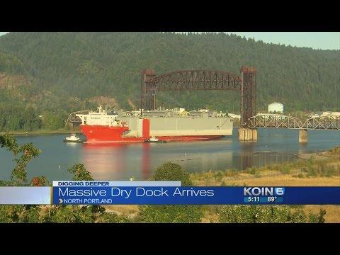 Giant ship brings gigantic drydock to Portland