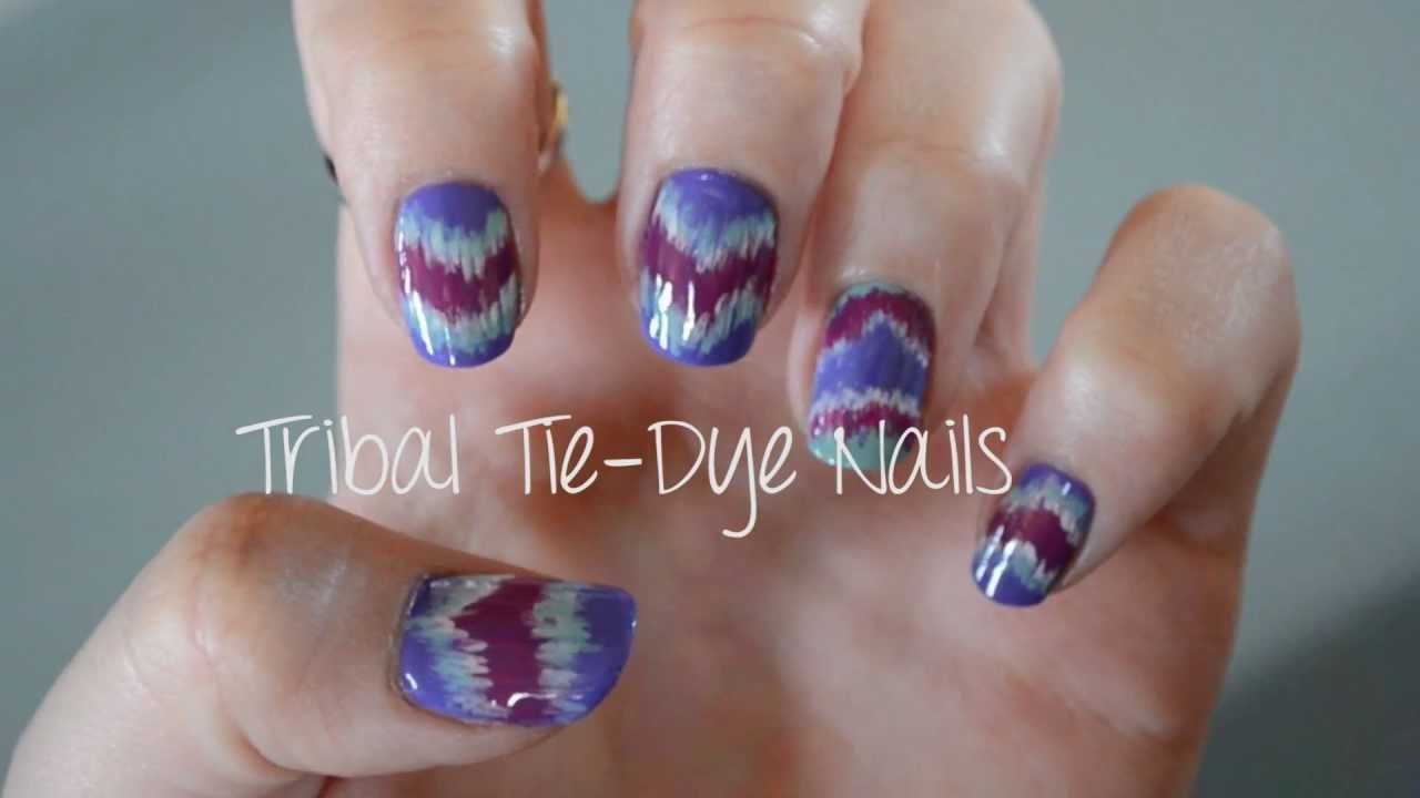 Quick & Easy Tribal Tie-Dye Nails - YouTube