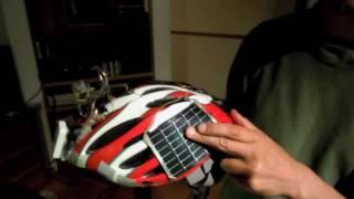 Solar helmet light in broken Japanese