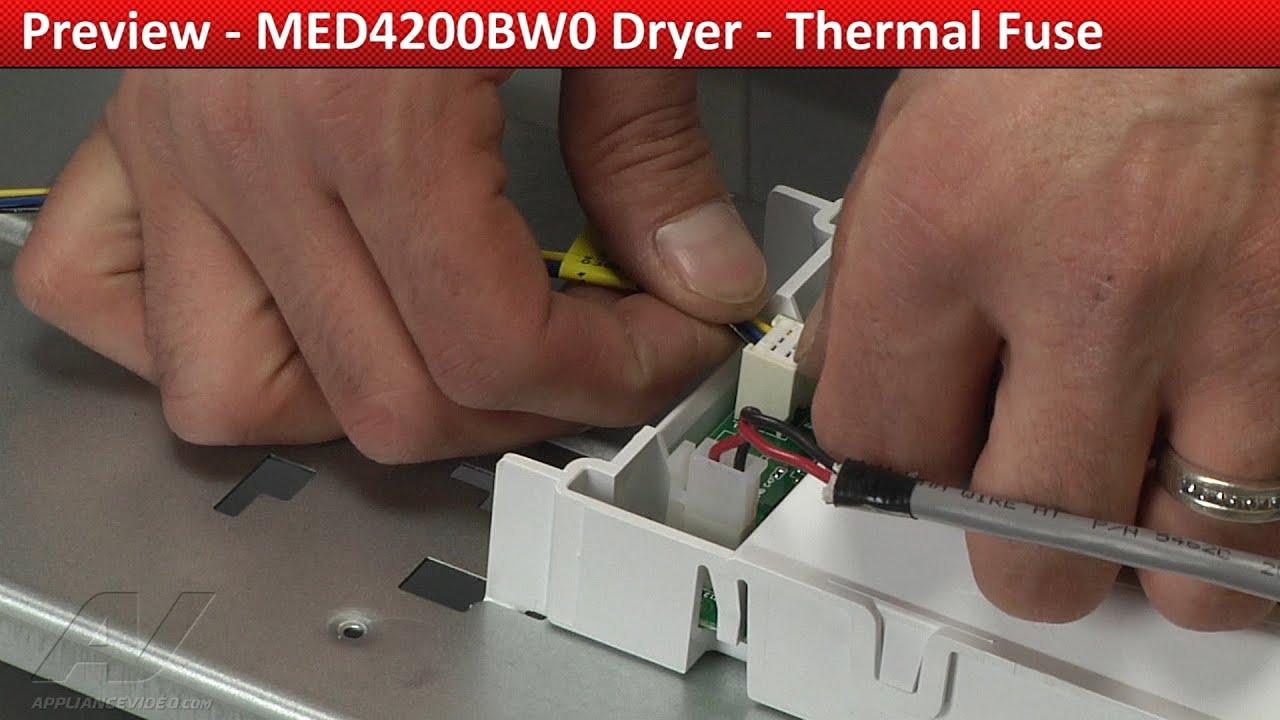 Thermal Fuse diagnostic & Repair MED4200BW0 Maytag Dryer