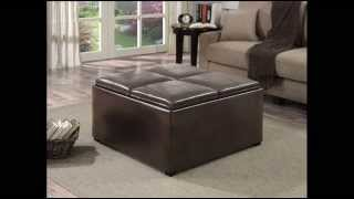 Avalon Coffee Table Storage Ottoman W/ 4 Serving Trays; Coffe Table Storage