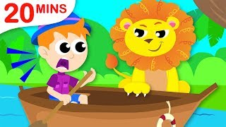 Row Row Your Boat | 5 Little Puppies | Puppies & Itsy Bitsy | Kids Songs by Little Angel