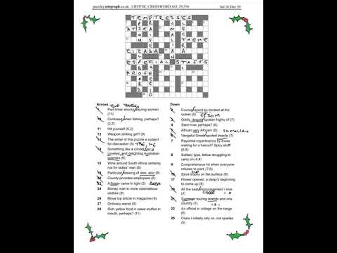 Daily Telegraph Prize Crossword 29556 Answers And Walkthrough Sat 26th December 2020 Youtube