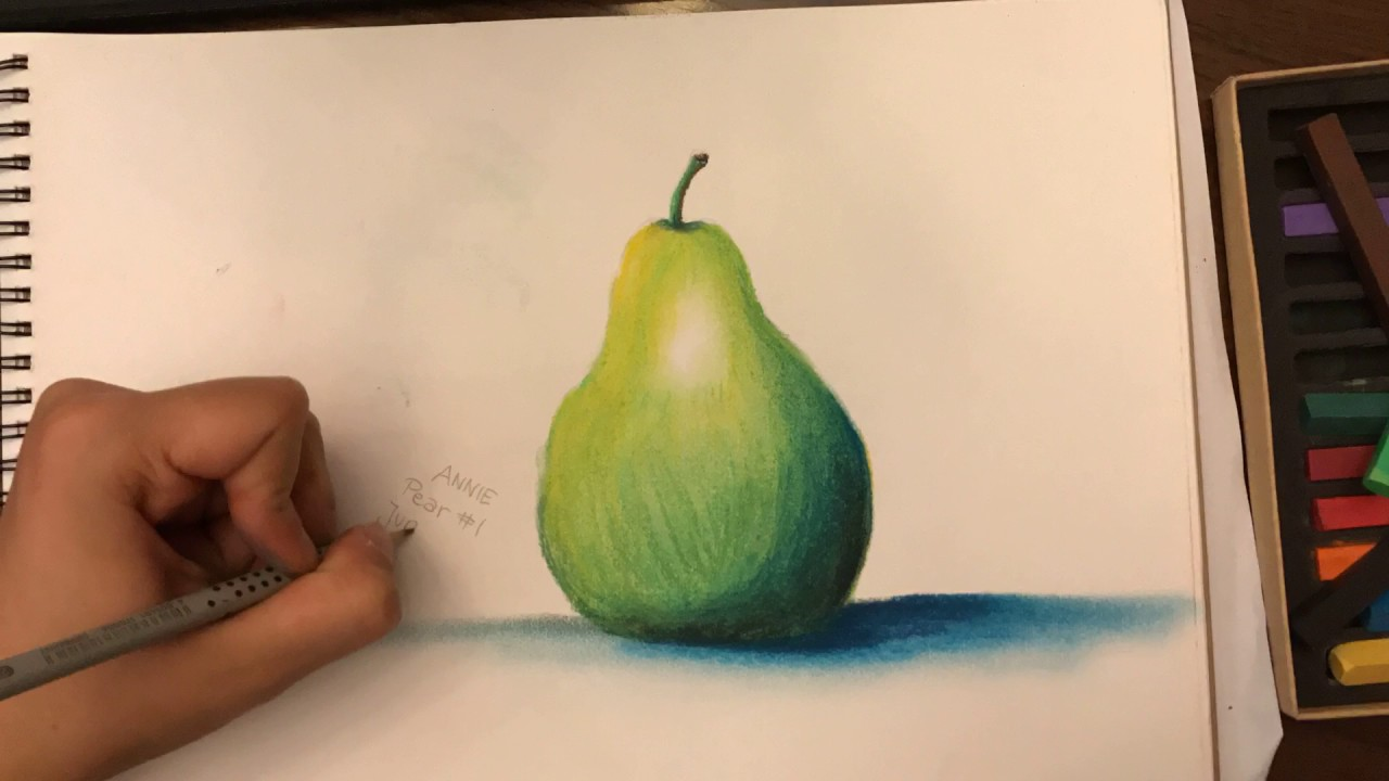 Pear #1, Hard Pastel Drawing