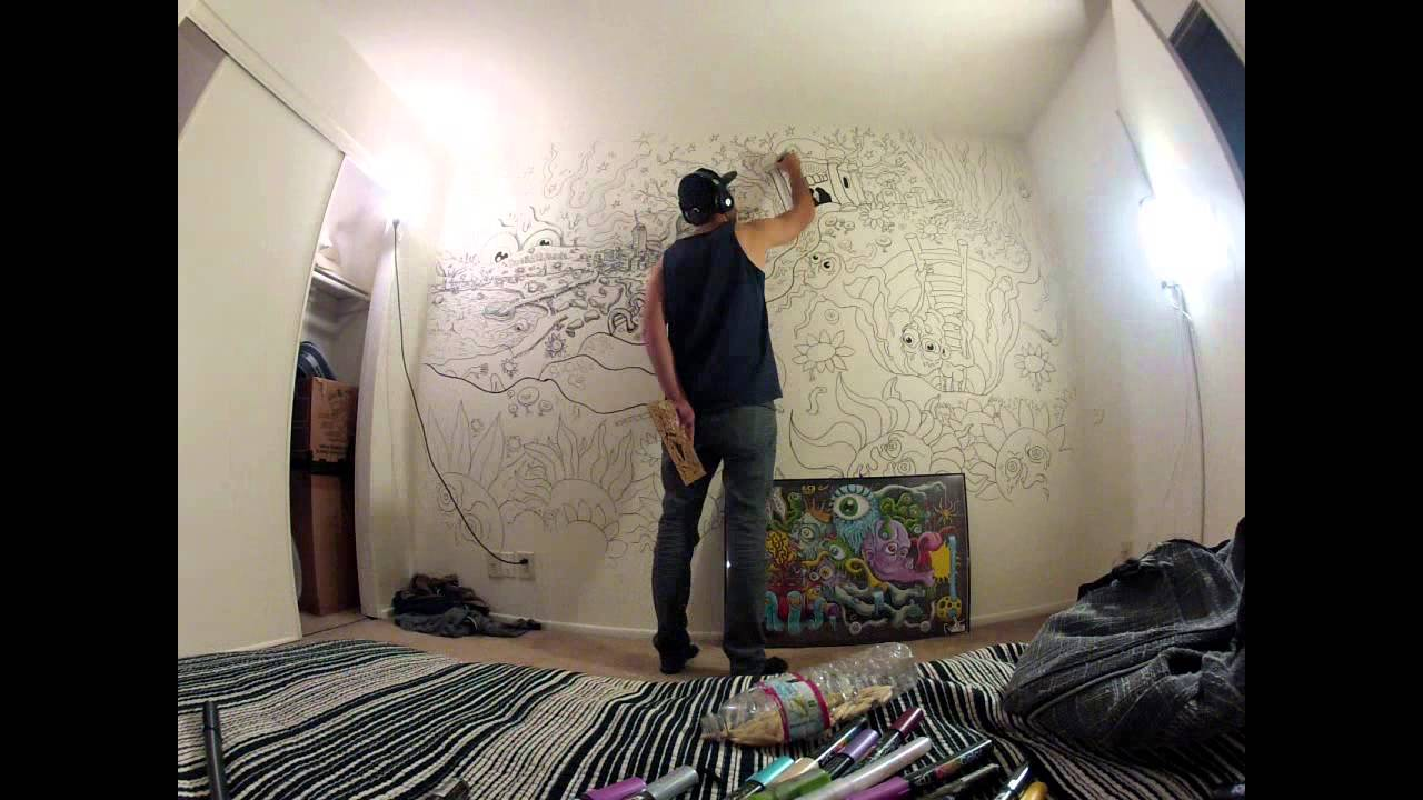 How To Paint A Wall Mural wall mural done with acrylic decocolor paint markersdunkees