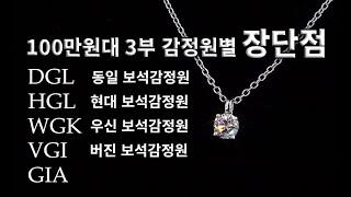 100만원 예산3부 다이아몬드가격범위와 감정서별 장,단…