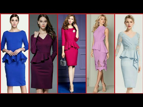 Latest & Elegant Stylish Women Lady Fashion Paloma Peplum Lapel Wear Bodycon Slim Shift Pencil Dress
