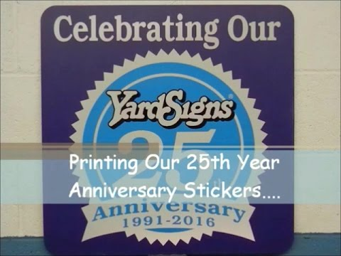 Screen Printing Our 25th Year Anniversary Stickers