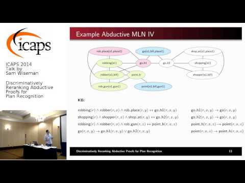 """ICAPS 2014: Sam Wiseman on """"Discriminatively Reranking Abductive Proofs for Plan Recognition"""""""