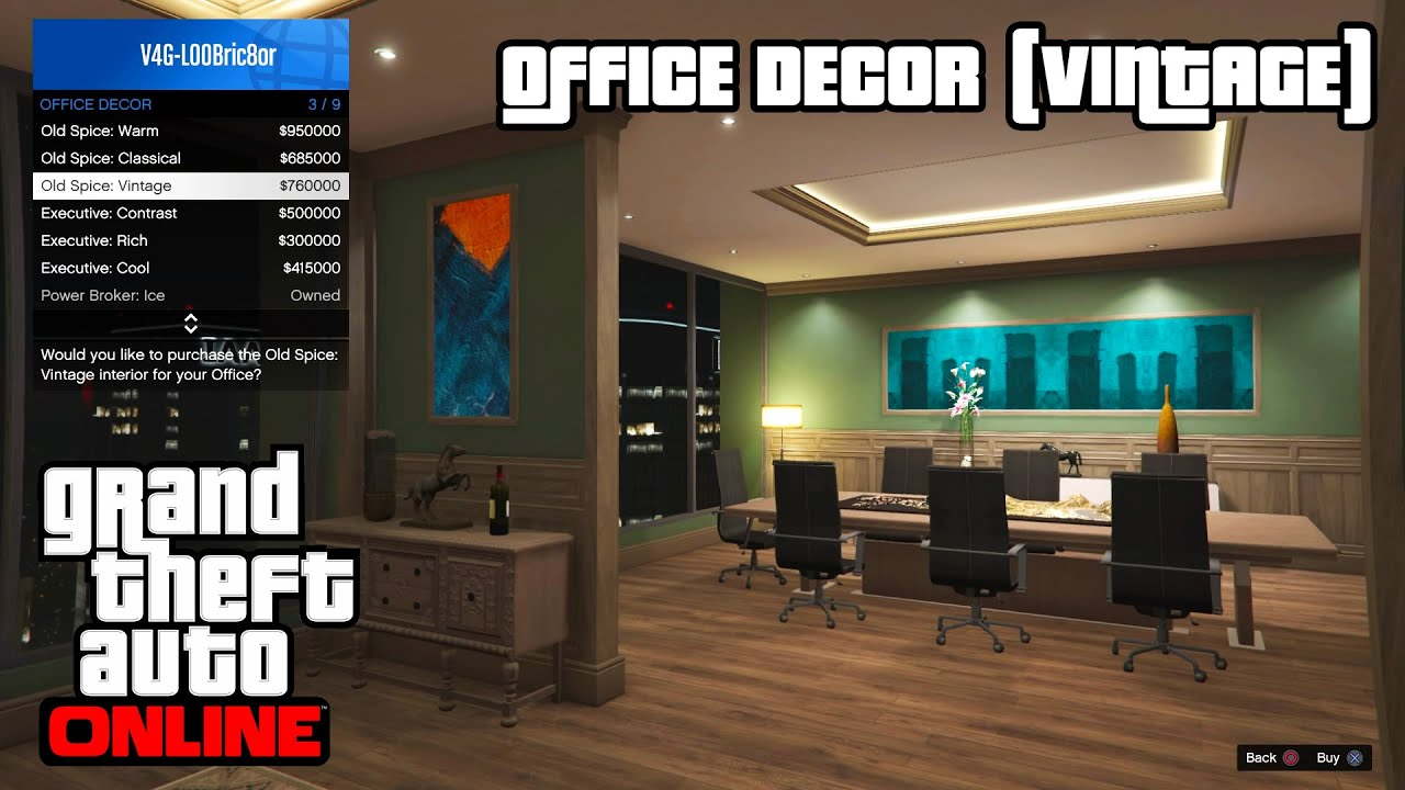 gta 5 online ps4 - office decor (vintage) - youtube