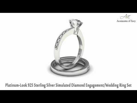 Platinum-Look 925 Sterling Silver Simulated Diamond Wedding Ring Set